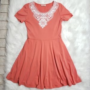 Pixi and Ivy Coral Dress with Lace Detail